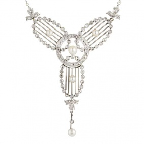 Art Deco Diamond & Pearl Set Necklace in Platinum